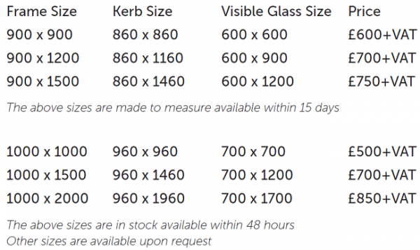 Rooflights Pricing Table